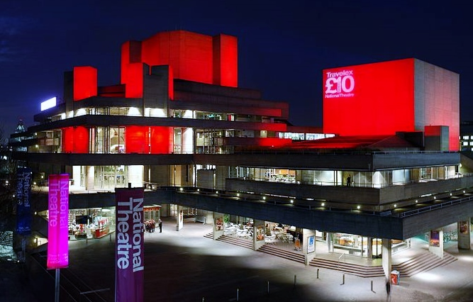 The National Theatre lit up at night