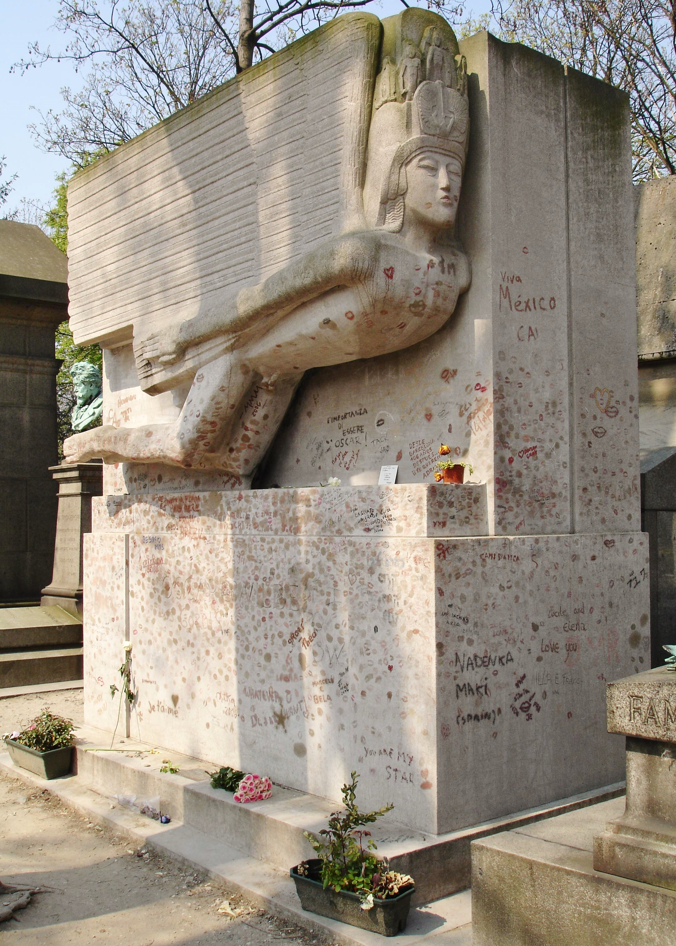 Oscar Wilde's tomb at the Père Lachaise Cemetery in Paris